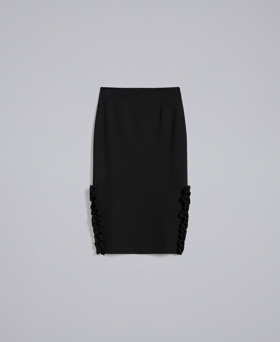 Mid-length Milan stitch skirt with ruches Black Woman PA821W-0S