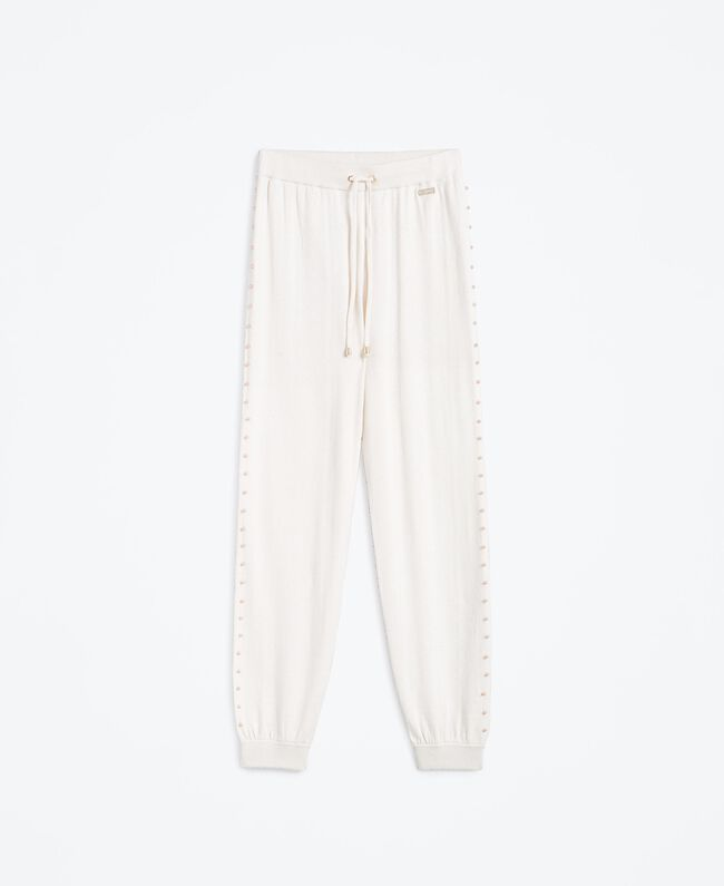 Wool blend jogging trousers Blanc Woman IA8ALL-01