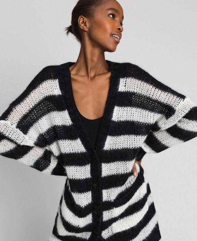 "Striped mohair maxi cardigan Black / ""Papyrus"" White Stripe Woman 192TP3272-04"