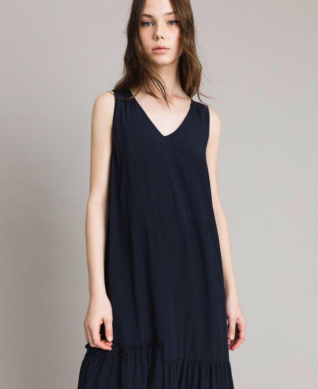 Silk-mix long dress Deep Blue Woman 191TP2461-04