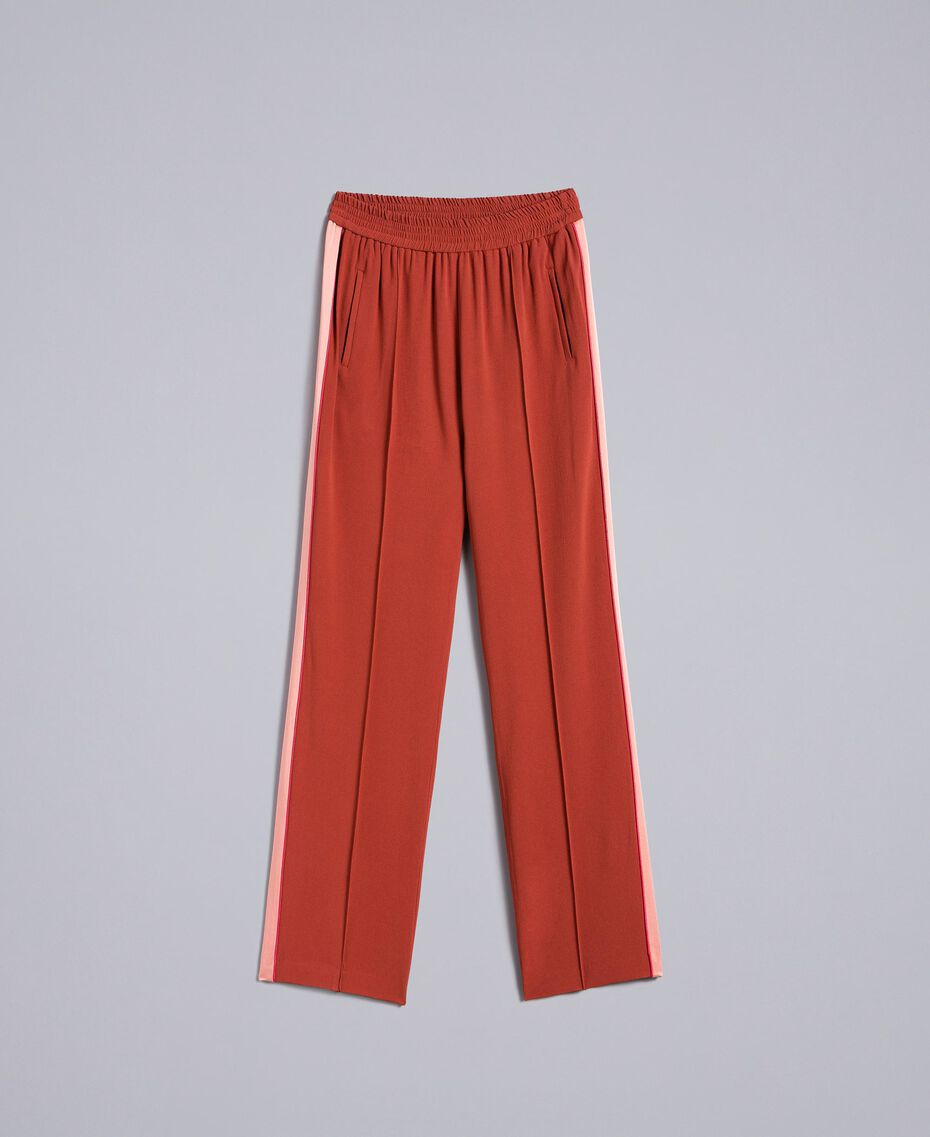 "Envers satin trousers Bicolour ""Burnt"" Orange / Sand Pink Woman TA824W-0S"