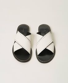 Leather sandals with rivets White Snow Woman 211TCT052-05