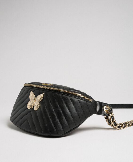 Quilted leather belt bag with butterfly