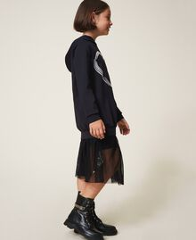 Scuba maxi sweatshirt with heart Black Child 202GJ2701-03