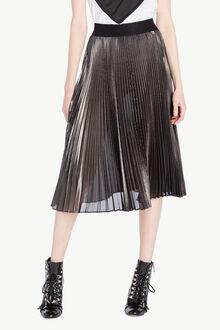 Jupe plissée Noir «Canon de Fusil» Métallisé Femme PS82QN-01