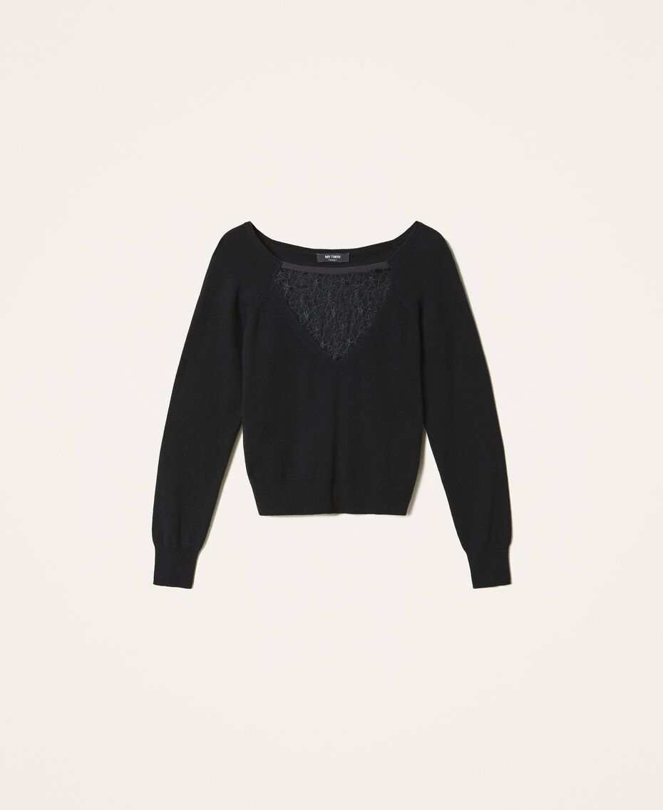 Wool blend jumper with tulle Black Woman 202MP3090-0S
