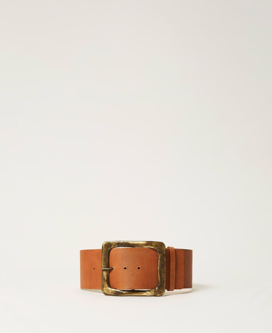 Leather belt with maxi buckle Leather Brown Woman 211TO506F-01