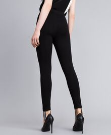 Milan stitch stirrup leggings Black Woman PA821B-04