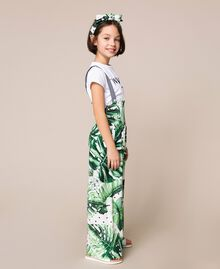 Tropical print jumpsuit/trousers Green Polka Dot Tropical Print / Vichy Child 201GJ2301-02