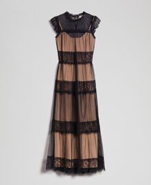 Long dress with tulle, lace and plumetis patch Two-tone Black / Nude Woman 192TP2332-0S