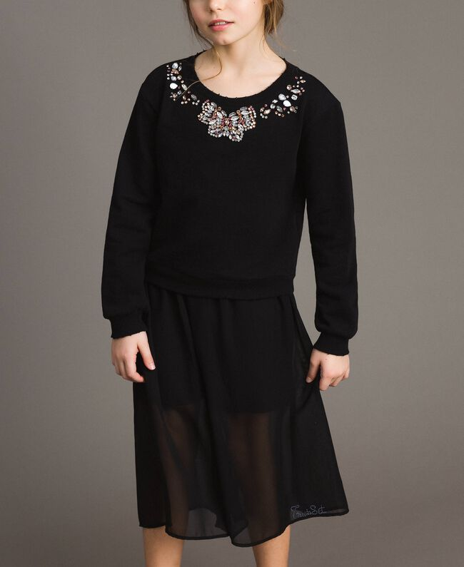 Cotton sweatshirt with multicolour stones Black Child 191GJ2311-03