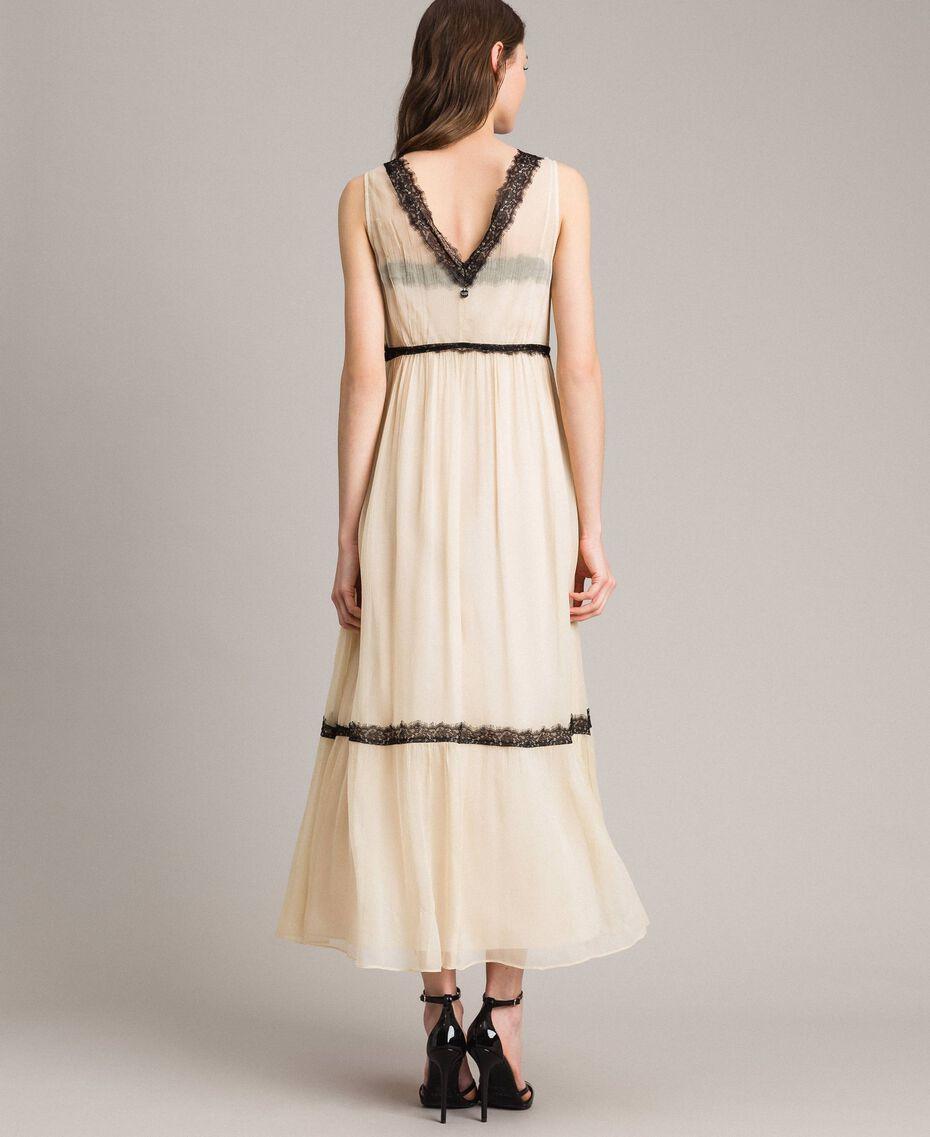 Robe longue en crépon ornée de dentelle Écru Femme 191ST2204-03