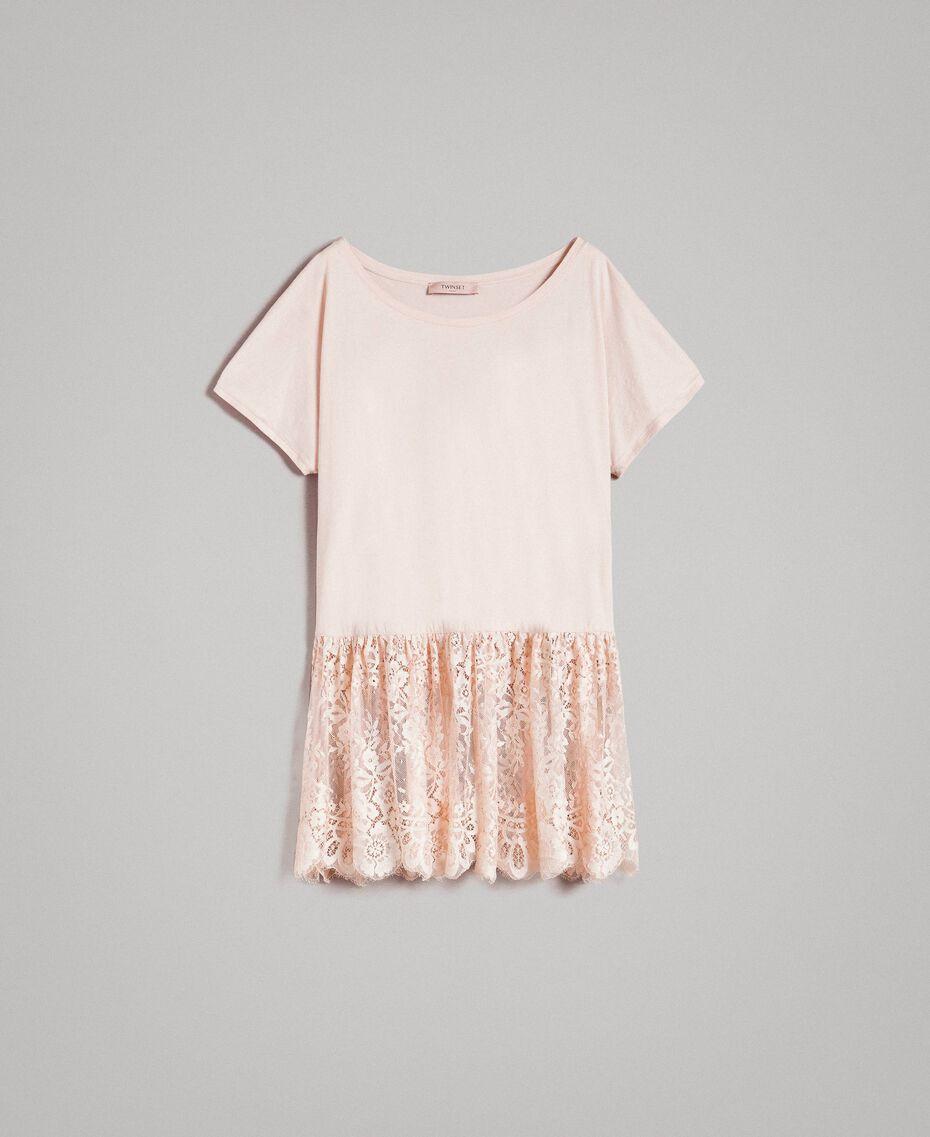 Maxi-T-Shirt mit Spitze Blütenknospenrosa Frau 191TP260G-0S