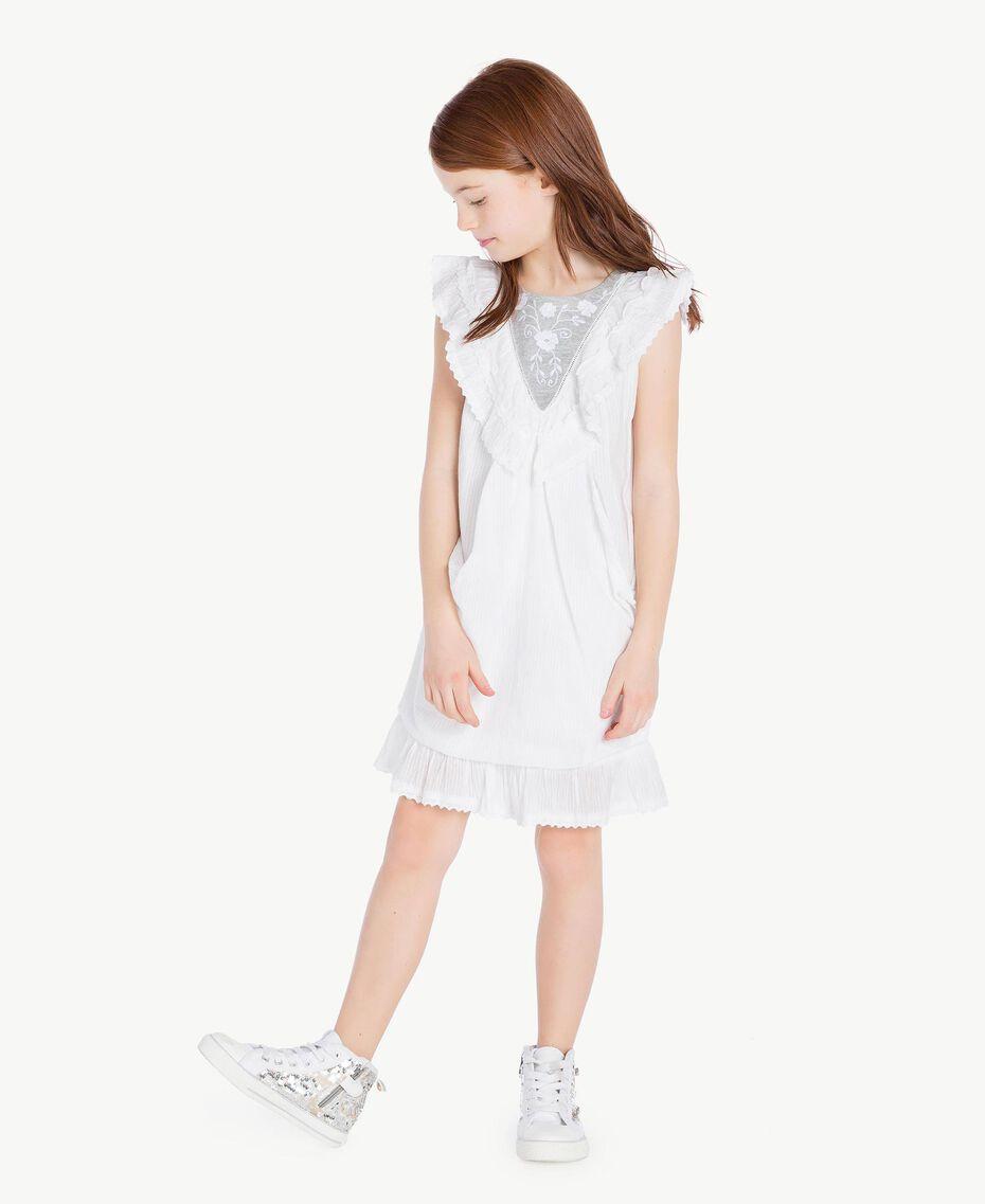 "Embroidered dress ""Papyrus"" White Jacquard Stripes / Light Melange Grey Child GS82LA-02"