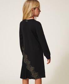 Pleats and lace dress Black Child 202GJ215A-04