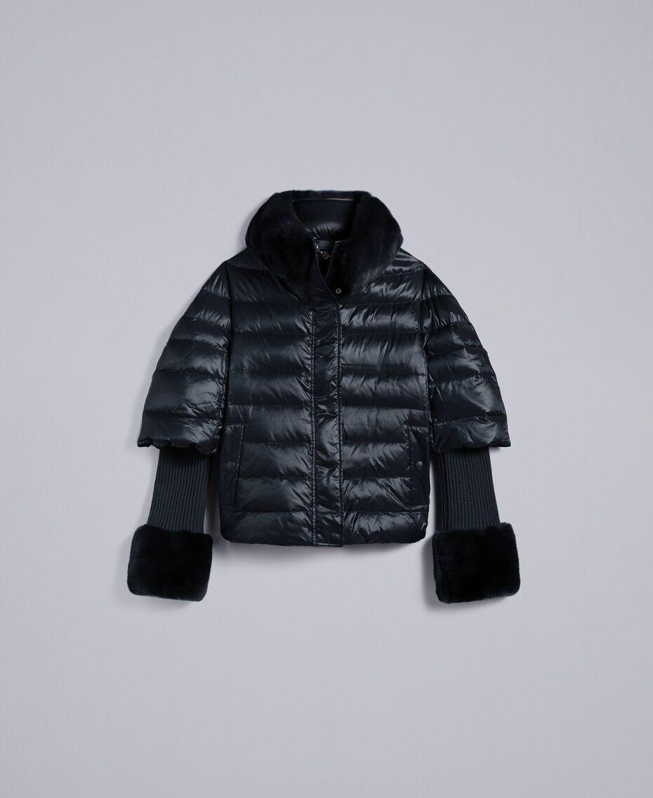 Doudoune courte en nylon brillant Noir Femme TA82C2-0S