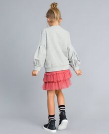 Embroidered stretch viscose sweatshirt Light Gray Mélange Child GA82SA-03