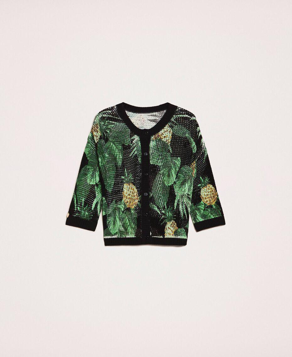 Pull-cardigan au point filet Imprimé Ananas avec Feuilles Noir Femme 201TT3191-0S