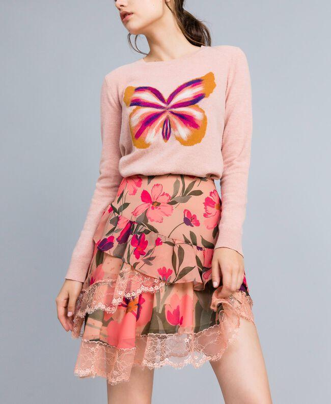 Jupe en mousseline avec imprimés floraux Imprimé Rose Tulipe «Tea Garden» Femme TA829A-01