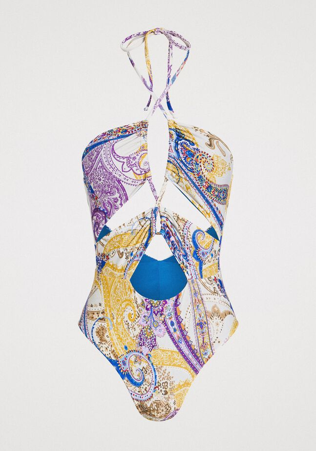 Paisley print one-piece swimsuit