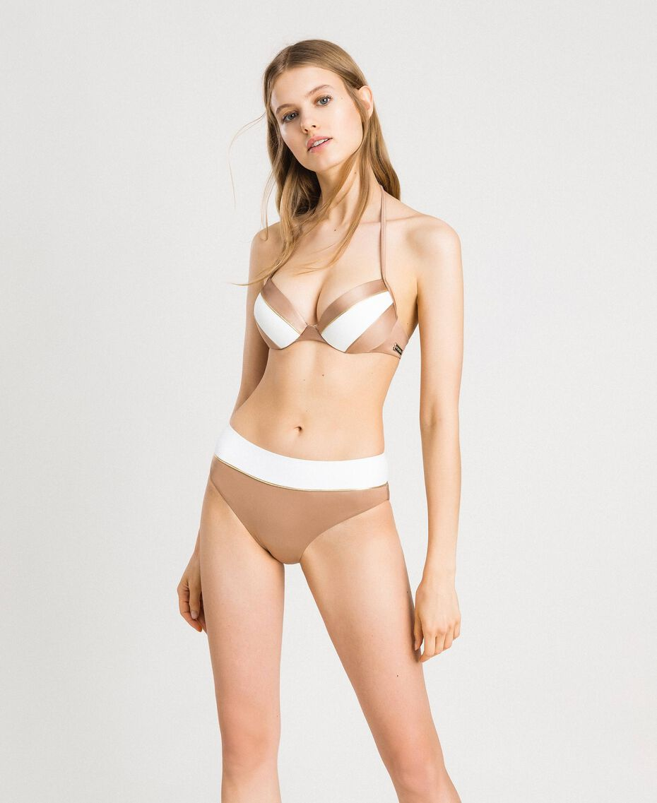 "Haut de bikini push-up color block Bicolore Ivoire / Marron ""Grès de Pétra"" Femme 191LMMH44-02"
