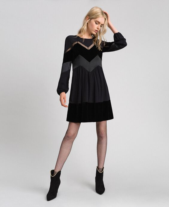 Dress with velvet details