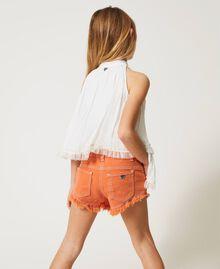 "Frayed bull shorts ""Iceland Poppy"" Orange Child 211GJ206E-03"