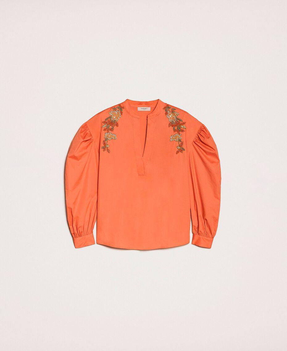 Blouse en popeline brodée Orange Parrot Femme 201TT2130-0S