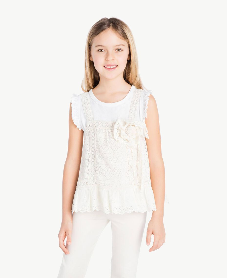 "T-shirt and lace top Two-tone ""Papyrus"" White / Chantilly Child GS82Z2-02"