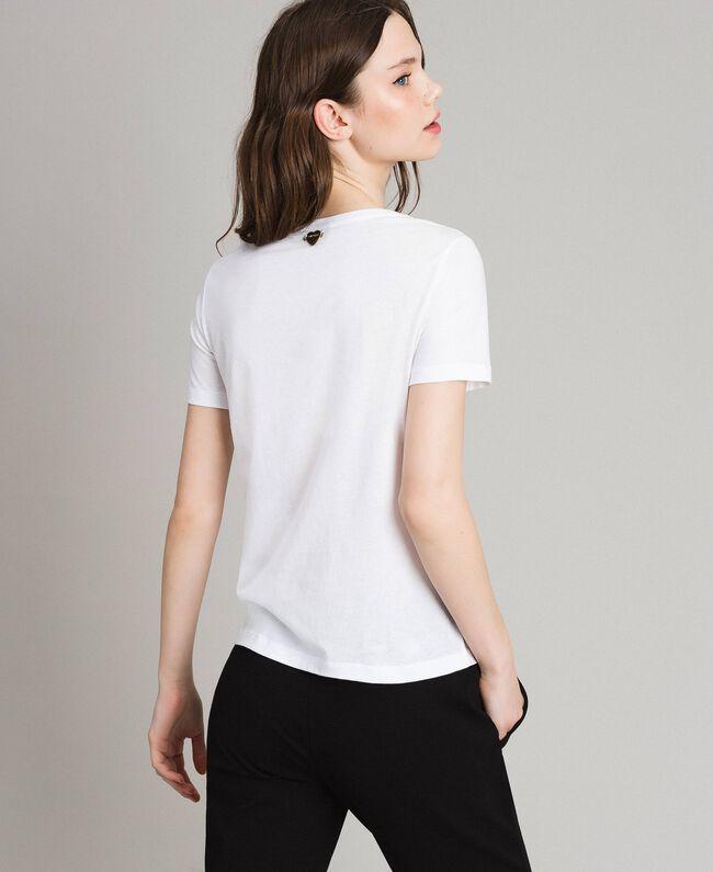 T-shirt with glitter print White Woman 191LB23LL-03