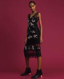 Plumetis tulle dress with floral embroidery Black Woman 192TT2042-02