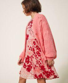 """Длинный кардиган из смесового мохера, вязаный косичками Розовый """"Персиковый цвет"""" Pебенок 202GJ3660-02"""