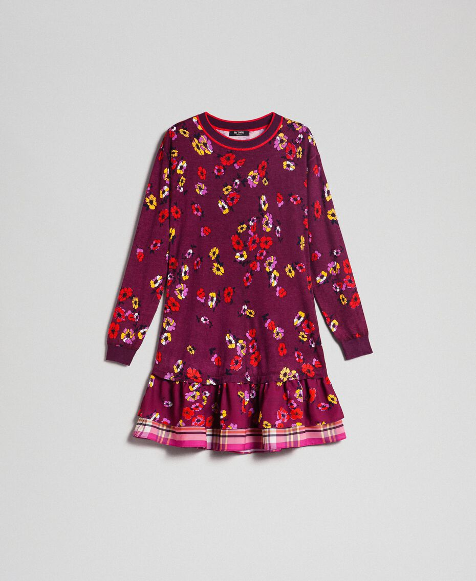 "Floral print dress with flounce ""Petit Fleur"" Burgundy Red Print Woman 192MT3271-0S"