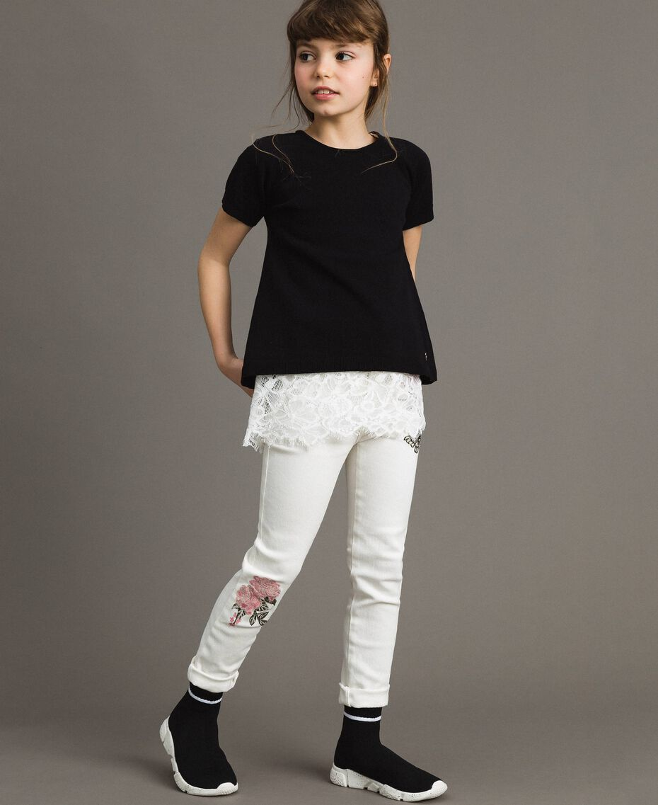 Pullover aus Baumwolle und Spitzen-Top Zweifarbig Schwarz / Off White Kind 191GJ3020-0T