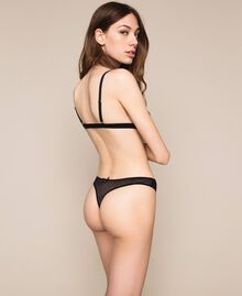 Tulle g-string with hearts Black Woman 201LL6388-03