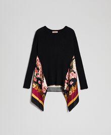 Pullover aus Mohair und bedrucktem Twill Schwarz / Foulardprint Frau 192TP3062-0S