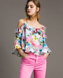 Floral print blouse with flounce All Over Optical White Multicolour Flowers Print Woman 191MT2291-01