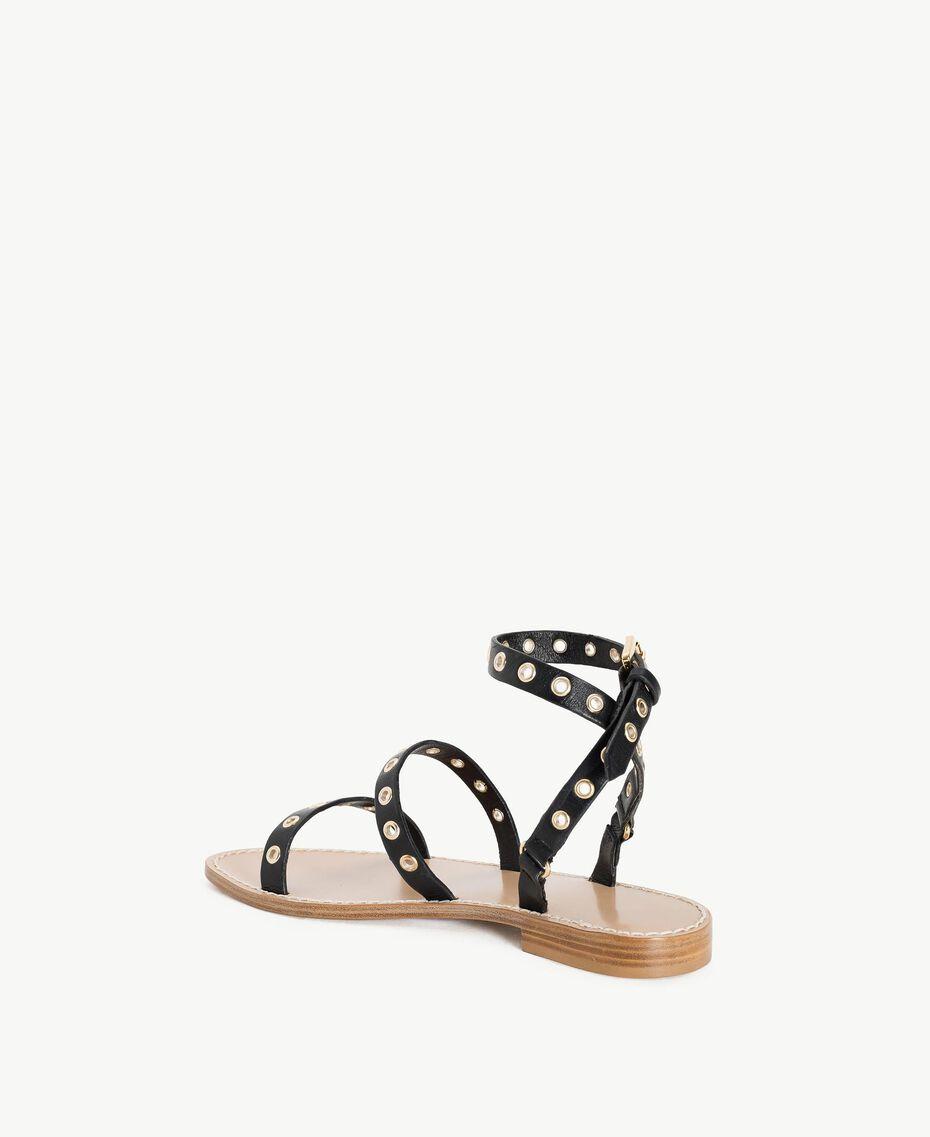 TWINSET Sandale aus Leder Schwarz Frau CS8TAG-03