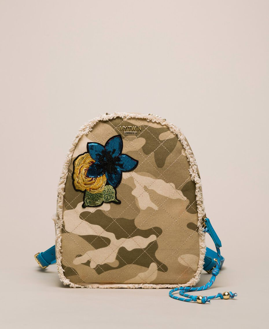 Canvas backpack with patch and fringes Camouflage Print / Vivid Blue Woman 201MO8041-02