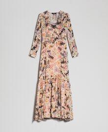 Long dress with floral and graffiti print Vanilla Flower Graffiti Print Woman 192MP2221-0S