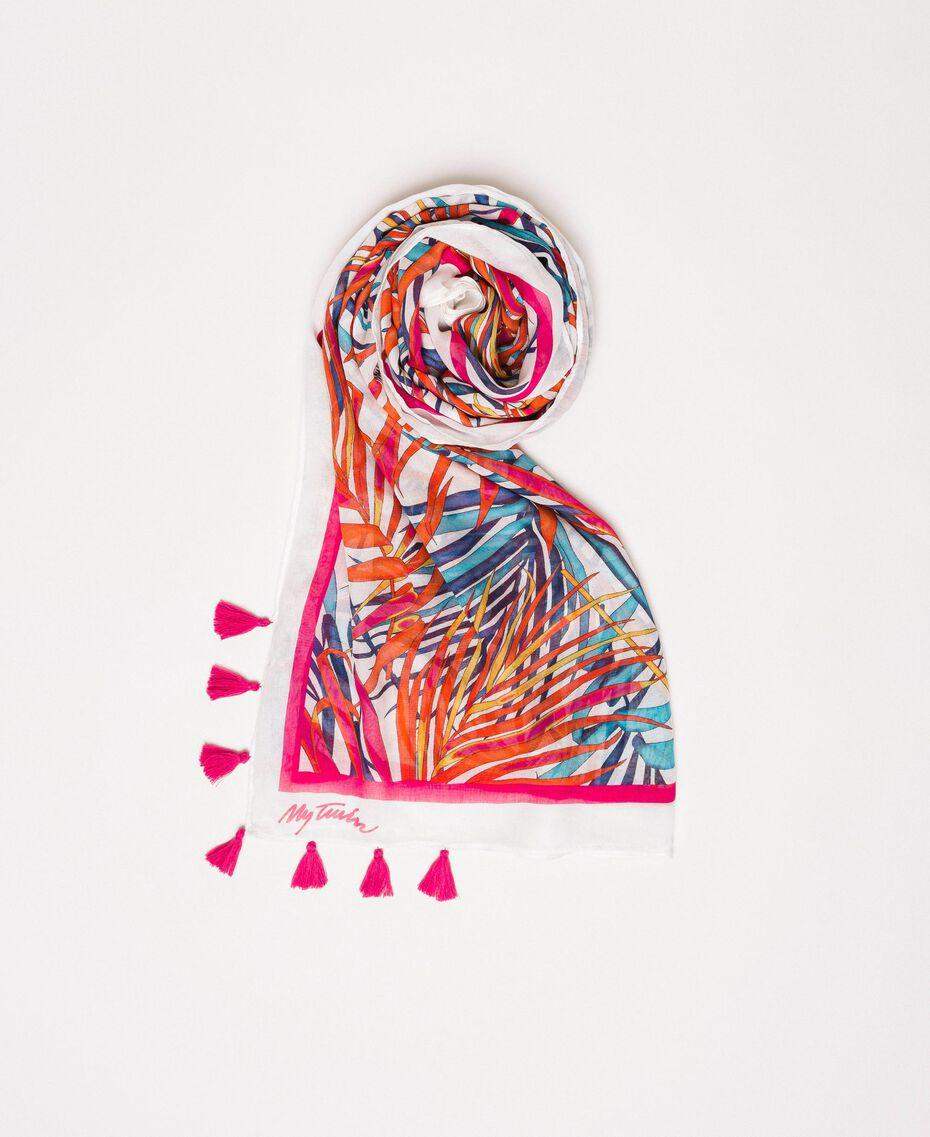 """Куфия с тропическим принтом Принт Папоротник Белый """"Лед"""" женщина 201MO5300-01"""