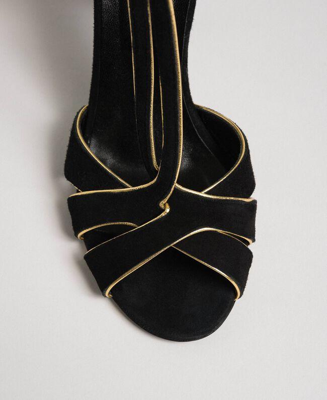 Sandalette aus Rauleder Schwarz Frau 192TCT01G-05