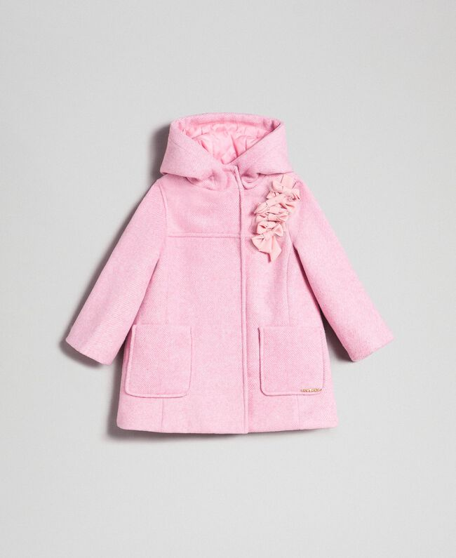 """Cappotto in panno con fiocchi Jacquard Rosa """"Confetti"""" Bambina 192GB2100-01"""