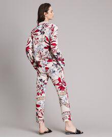 Pantaloni in crêpe con stampa a fiori Stampa Esotica Ecrù Donna 191ST2231-04