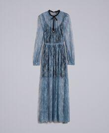 Long Valencienne lace dress Dusty Blue Woman PA82F2-0S