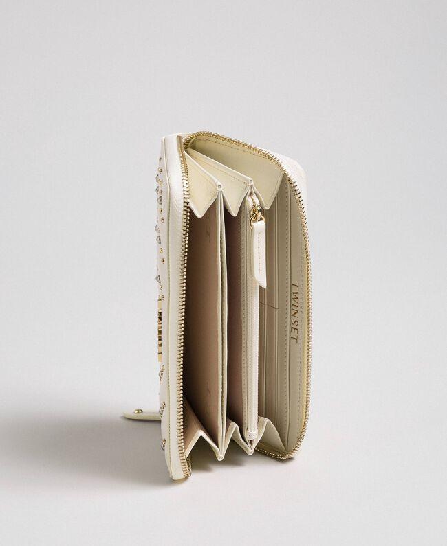 Portefeuille en cuir avec clous Blanc Papyrus Femme 192TA7113-04