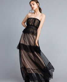 Tulle plumetis and lace long bustier dress Black Woman TA82XC-02