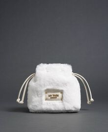 Faux fur bucket bag with drawstring Vanilla White Woman 192MO8032-03