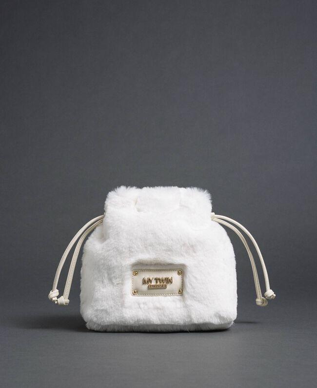 Sac seau en fausse fourrure avec cordon coulissant Blanc Vanille Femme 192MO8032-03