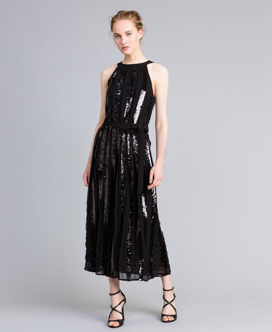 Robe longue en crêpe georgette avec paillettes Noir Femme PA82J1-02